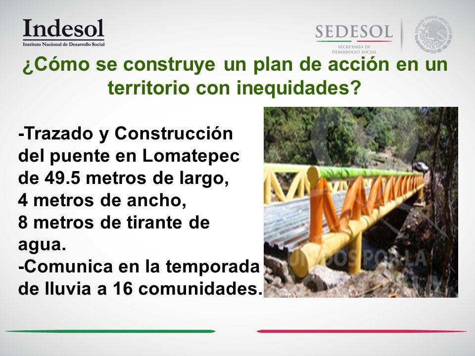 -Trazado y Construcción del puente en Lomatepec de 49.5 metros de largo, 4 metros de ancho, 8 metros de tirante de agua. -Comunica en la temporada de