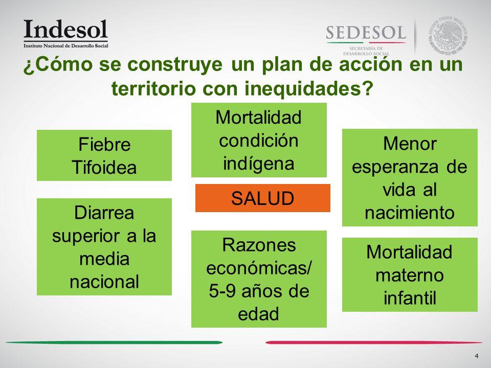 4 SALUD ¿Cómo se construye un plan de acción en un territorio con inequidades? Fiebre Tifoidea Mortalidad condición indígena Menor esperanza de vida a
