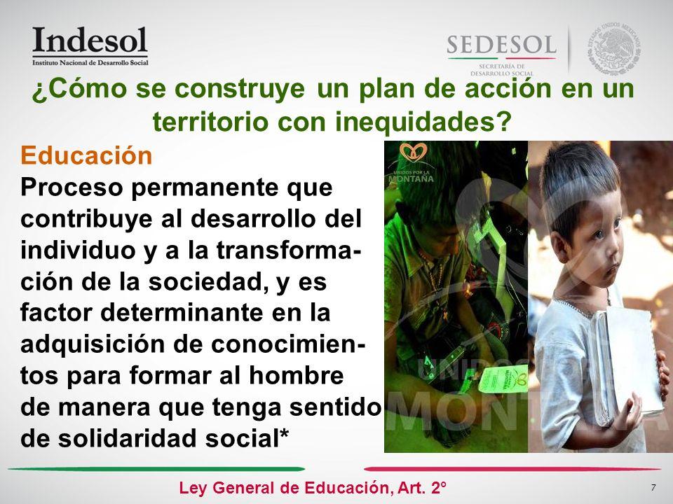 7 Educación Proceso permanente que contribuye al desarrollo del individuo y a la transforma- ción de la sociedad, y es factor determinante en la adqui