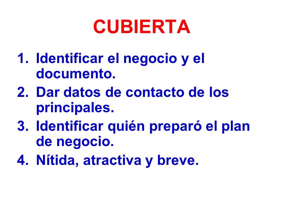 CUBIERTA 1.Identificar el negocio y el documento.2.Dar datos de contacto de los principales.