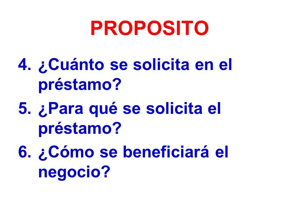 PROPOSITO 4.¿Cuánto se solicita en el préstamo.5.¿Para qué se solicita el préstamo.