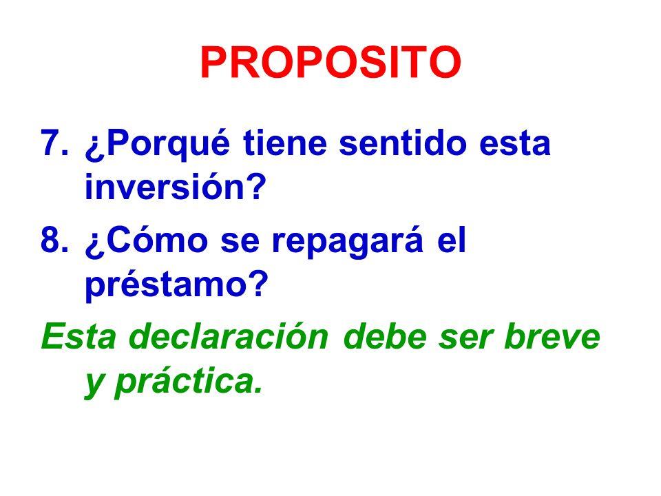 PROPOSITO 7.¿Porqué tiene sentido esta inversión.8.¿Cómo se repagará el préstamo.