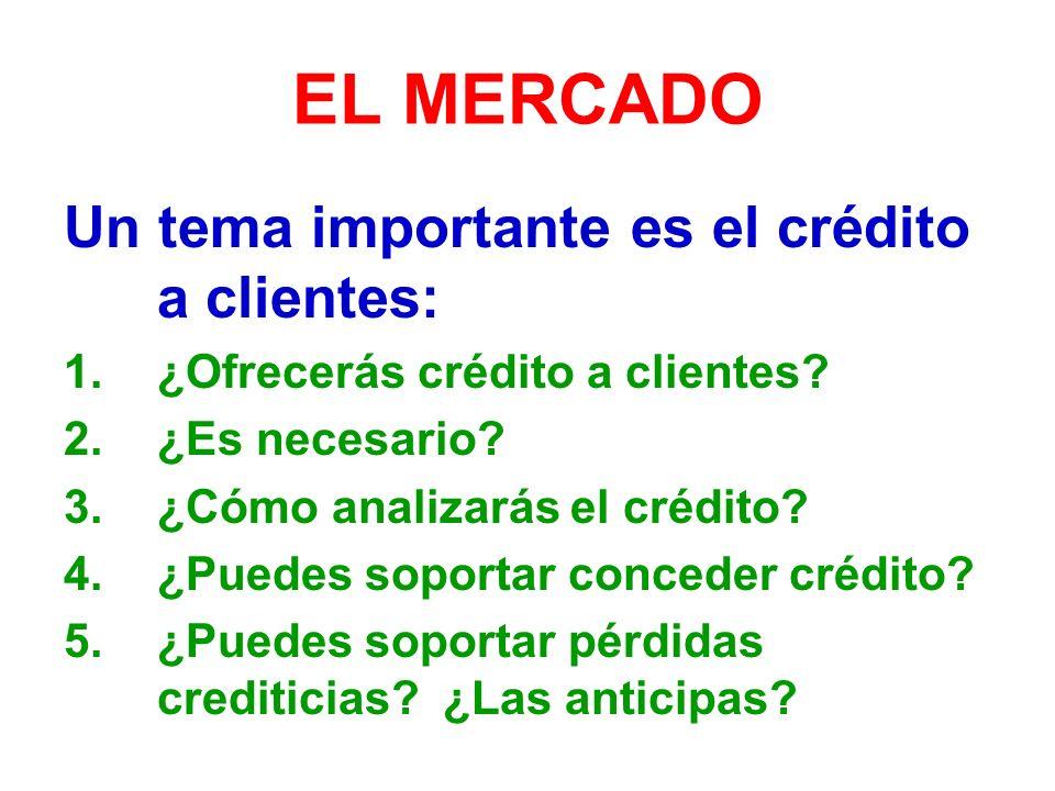 EL MERCADO Un tema importante es el crédito a clientes: 1.¿Ofrecerás crédito a clientes.