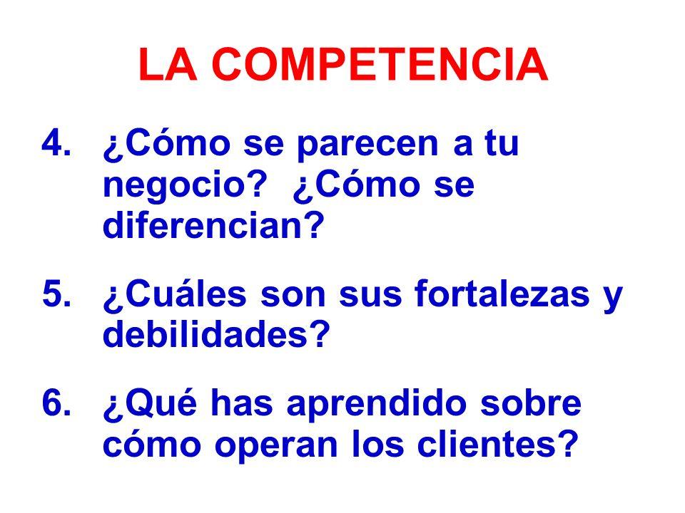 LA COMPETENCIA 4.¿Cómo se parecen a tu negocio.¿Cómo se diferencian.