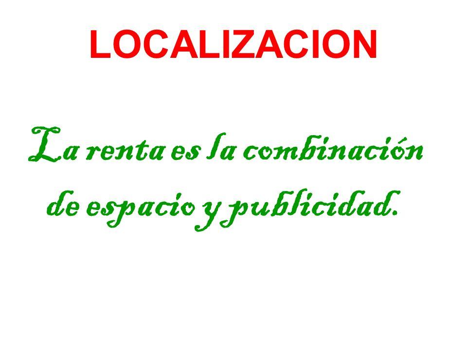 LOCALIZACION La renta es la combinación de espacio y publicidad.