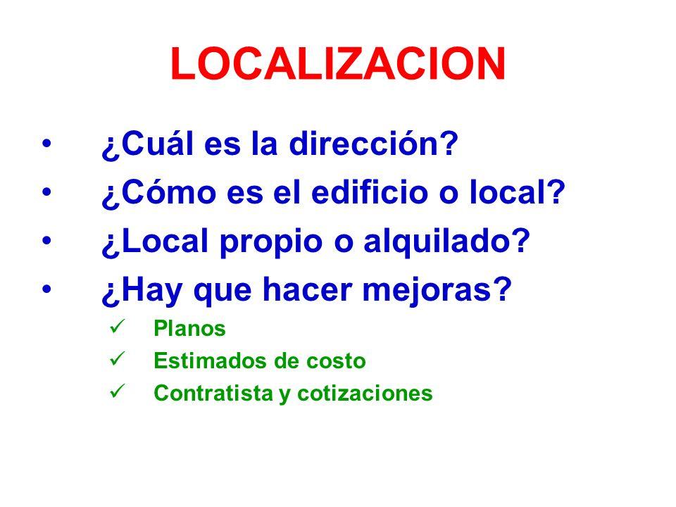 LOCALIZACION ¿Cuál es la dirección.¿Cómo es el edificio o local.