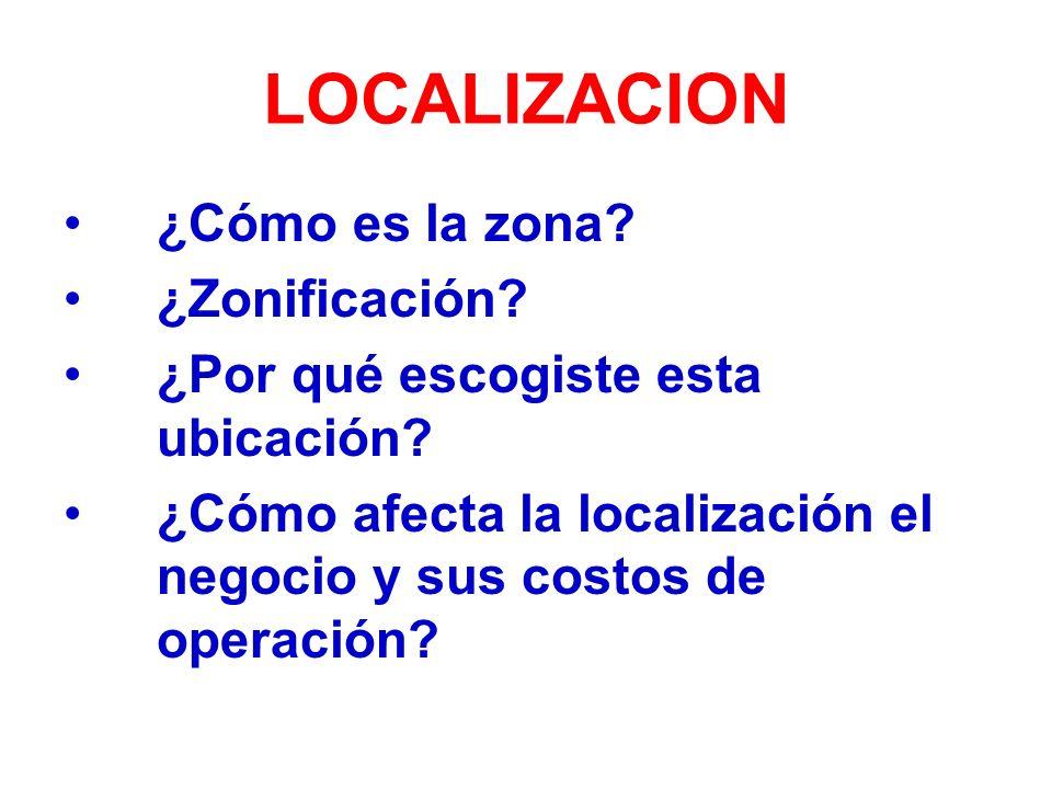 LOCALIZACION ¿Cómo es la zona.¿Zonificación. ¿Por qué escogiste esta ubicación.