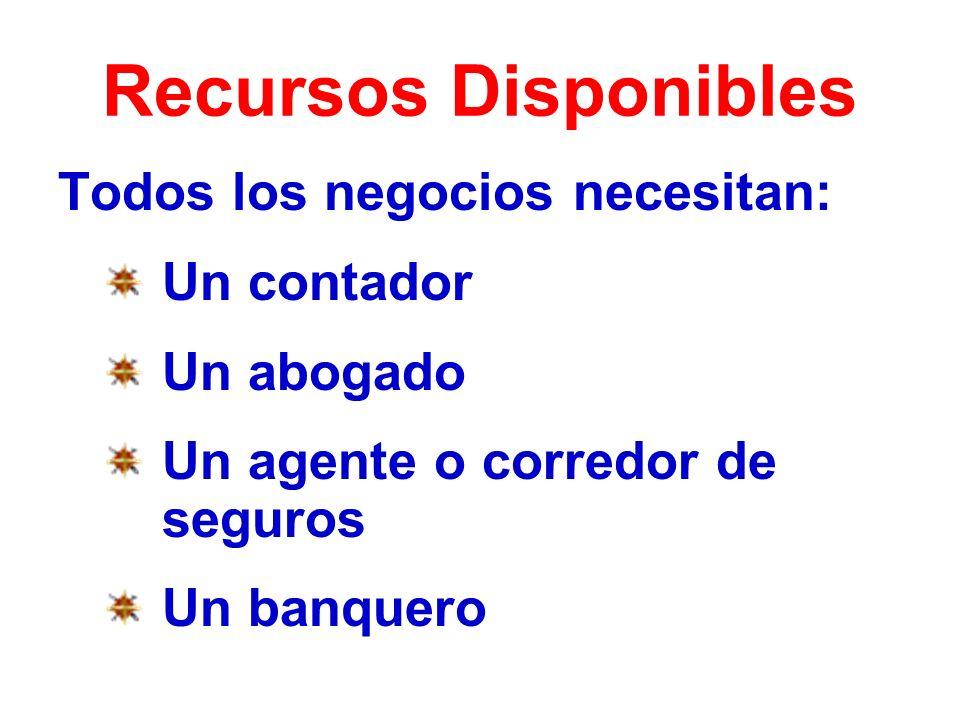 Recursos Disponibles Todos los negocios necesitan: Un contador Un abogado Un agente o corredor de seguros Un banquero
