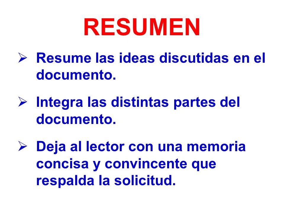 RESUMEN Resume las ideas discutidas en el documento.