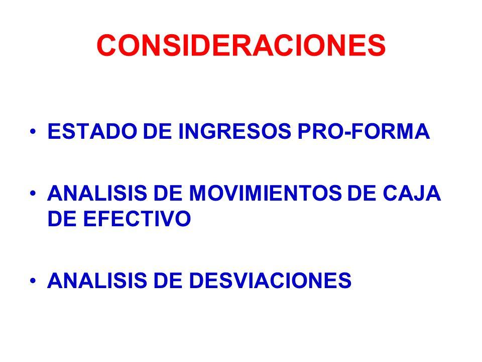 CONSIDERACIONES ESTADO DE INGRESOS PRO-FORMA ANALISIS DE MOVIMIENTOS DE CAJA DE EFECTIVO ANALISIS DE DESVIACIONES