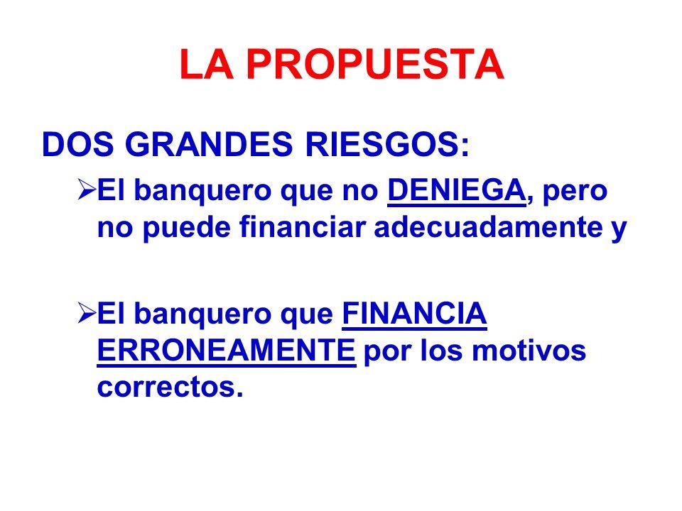 LA PROPUESTA DOS GRANDES RIESGOS: El banquero que no DENIEGA, pero no puede financiar adecuadamente y El banquero que FINANCIA ERRONEAMENTE por los motivos correctos.