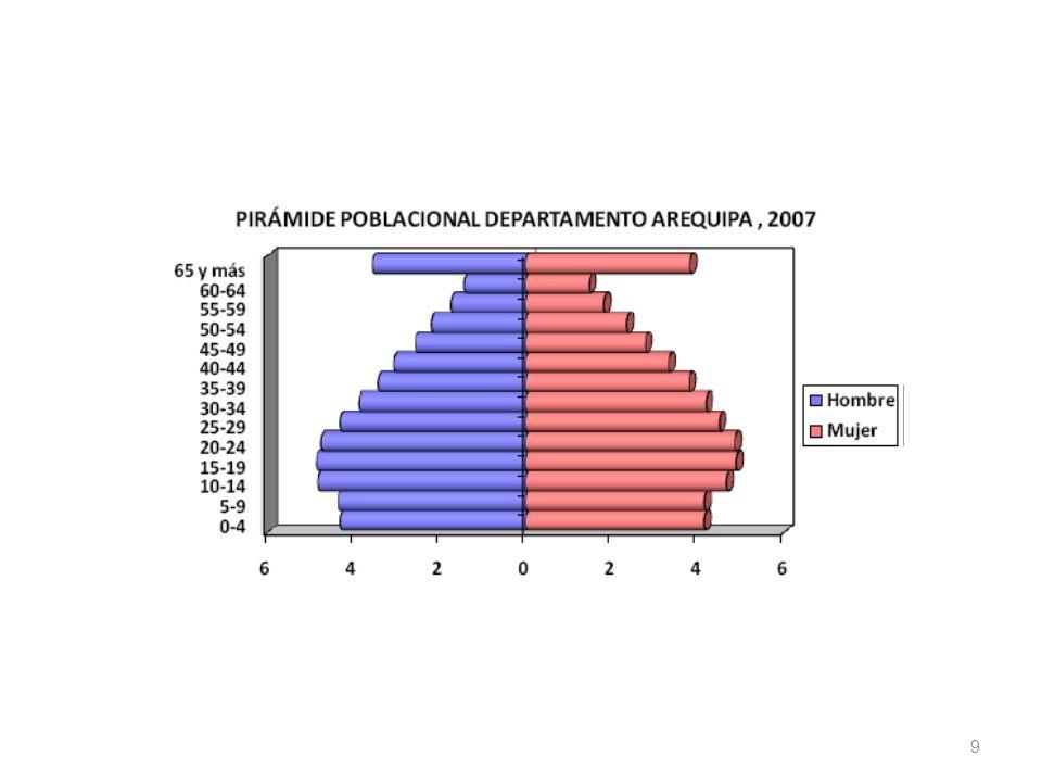 10 IndicadoresTotal SexoÁmbito geográfico Total relativo HombreMujer Total relativo UrbanoRural Condición de actividad Población en edad de trabajar (PET)315 642100,050,449,6100,084,115,9 Población económicamente activa (PEA)194 982100,056,543,5100,082,517,5 PEA ocupada173 586100,056,543,5100,081,618,4 PEA desocupada21 396100,056,543,5100,089,510,5 Población económicamente inactiva (PEI)120 660100,040,459,6100,086,813,2 Tasas Tasa de actividad (PEA / PET) 61,869,454,161,860,668,2 Ratio Empleo/población (PEA ocupada / PET) 55,061,848,155,053,463,7 Tasa de sub empleo 42,936,251,742,942,545,1 Por horas 2/ 13,915,711,613,914,212,6 Por ingresos 3/ 29,020,540,129,028,332,5 Adecuadamente empleados 46,152,937,346,145,648,3 Tasa de desempleo (PEA desocupada / PEA) 1/ 11,0 11,96,6 REGIÓN AREQUIPA: POBLACIÓN EN EDAD DE TRABAJAR POR SEXO Y ÁMBITO GEOGRÁFICO, SEGÚN CONDICIÓN DE ACTIVIDAD E INDICADORES LABORALES, 2009 (Porcentaje ) 1/ Cifra referencial en el ámbito rural por tener pocos casos en la encuesta.