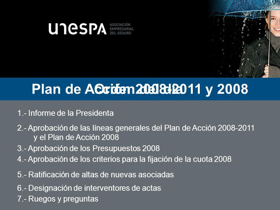 Orden del día 1.- Informe de la Presidenta 2.- Aprobación de las líneas generales del Plan de Acción 2008-2011 y el Plan de Acción 2008 3.- Aprobación de los Presupuestos 2008 4.- Aprobación de los criterios para la fijación de la cuota 2008 5.- Ratificación de altas de nuevas asociadas 6.- Designación de interventores de actas 7.- Ruegos y preguntas Ruegos y preguntas