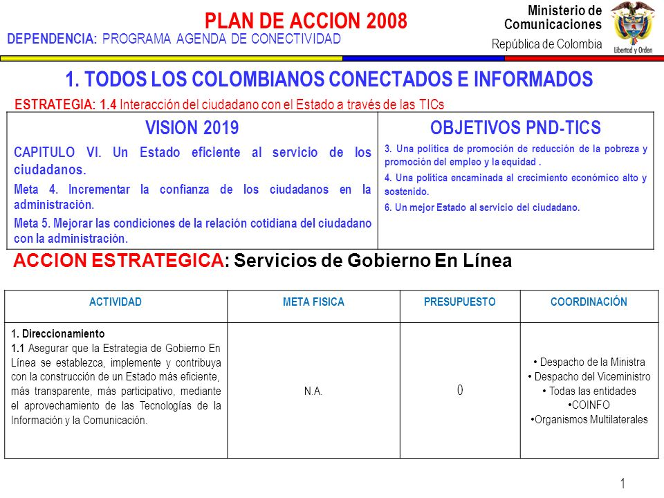 Ministerio de Comunicaciones República de Colombia Ministerio de Comunicaciones República de Colombia 1 PLAN DE ACCION 2008 DEPENDENCIA: PROGRAMA AGENDA DE CONECTIVIDAD 1.
