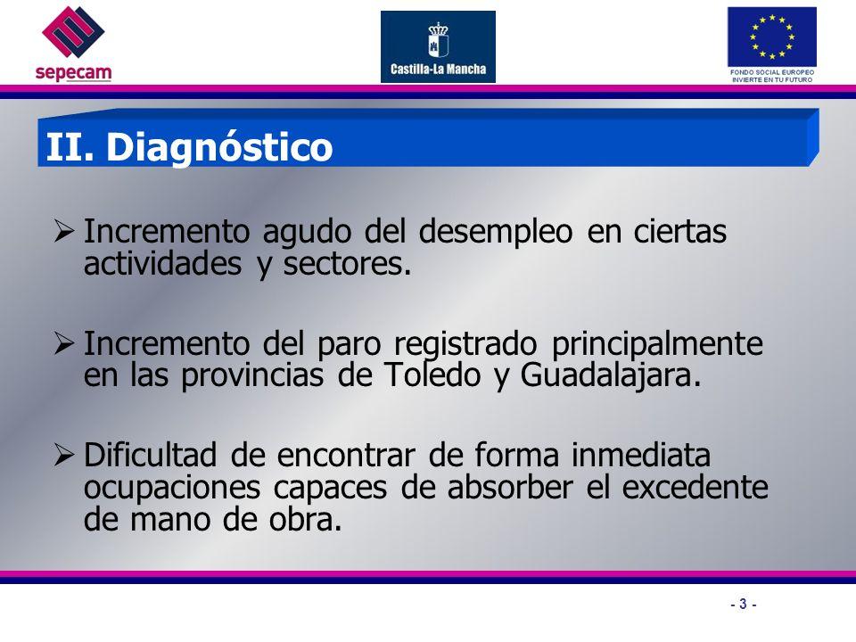 - 3 - II. Diagnóstico Incremento agudo del desempleo en ciertas actividades y sectores.