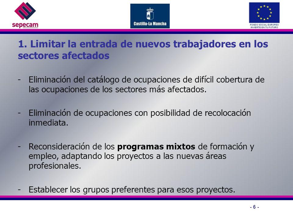 - 6 - 1. Limitar la entrada de nuevos trabajadores en los sectores afectados -Eliminación del catálogo de ocupaciones de difícil cobertura de las ocup