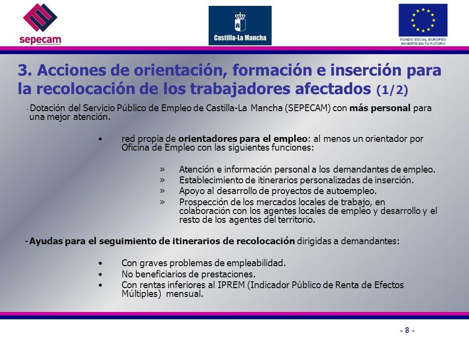 - 8 - 3. Acciones de orientación, formación e inserción para la recolocación de los trabajadores afectados (1/2) - Dotación del Servicio Público de Em