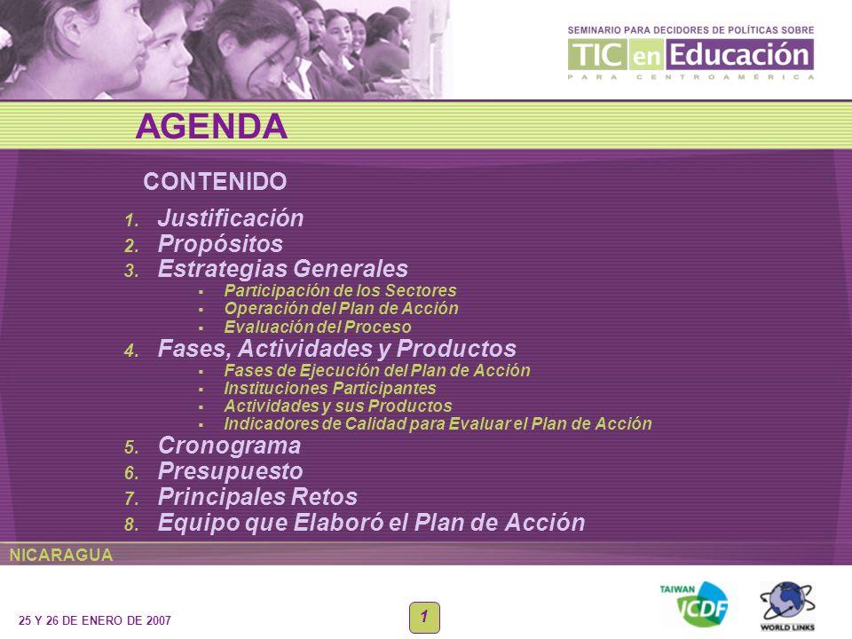 NICARAGUA 25 Y 26 DE ENERO DE 2007 1 CONTENIDO AGENDA 1. Justificación 2. Propósitos 3. Estrategias Generales Participación de los Sectores Operación