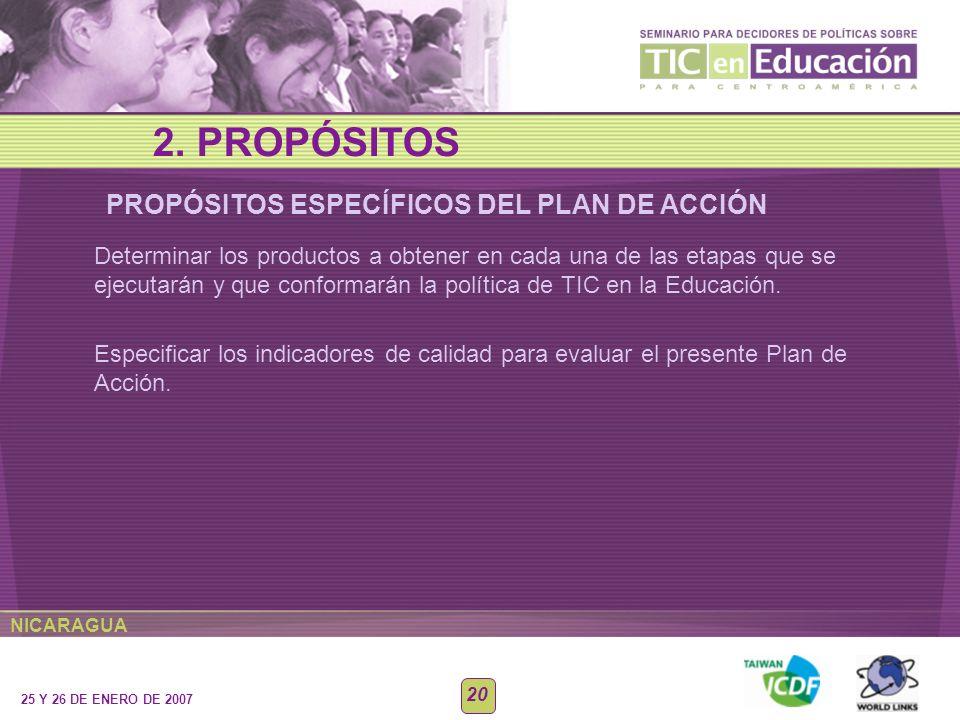 NICARAGUA 25 Y 26 DE ENERO DE 2007 20 Determinar los productos a obtener en cada una de las etapas que se ejecutarán y que conformarán la política de