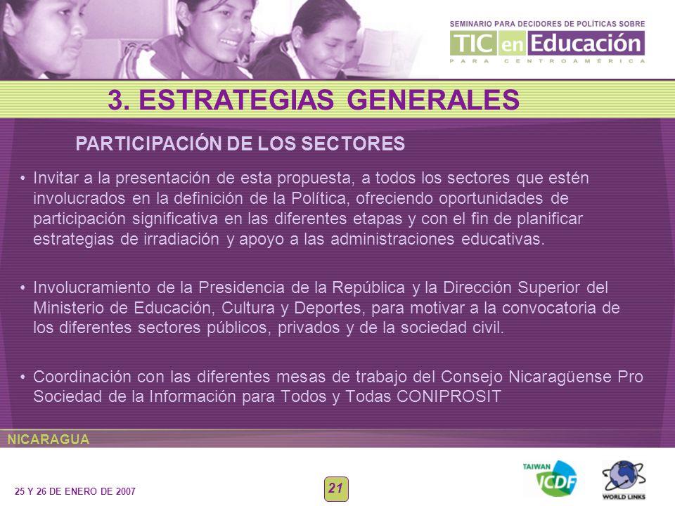 NICARAGUA 25 Y 26 DE ENERO DE 2007 21 PARTICIPACIÓN DE LOS SECTORES 3. ESTRATEGIAS GENERALES Invitar a la presentación de esta propuesta, a todos los