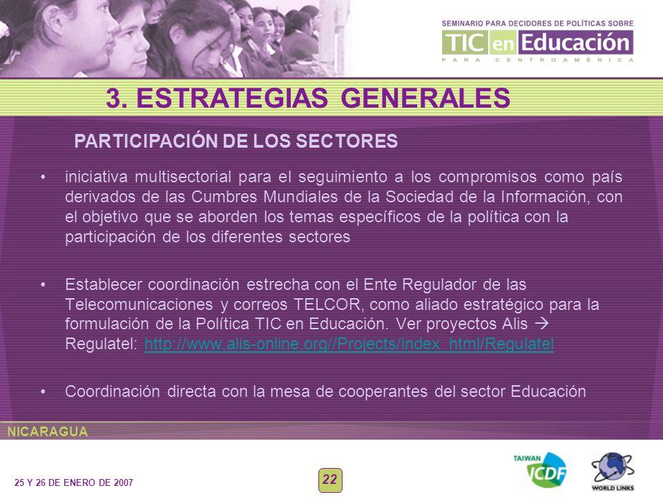 NICARAGUA 25 Y 26 DE ENERO DE 2007 22 iniciativa multisectorial para el seguimiento a los compromisos como país derivados de las Cumbres Mundiales de