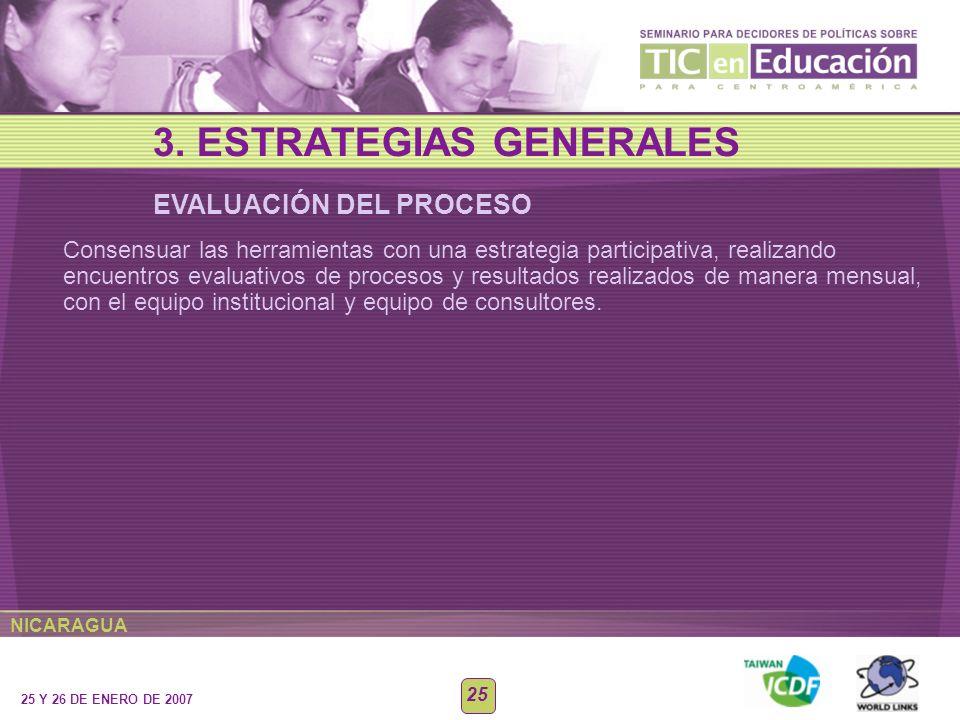 NICARAGUA 25 Y 26 DE ENERO DE 2007 25 EVALUACIÓN DEL PROCESO 3. ESTRATEGIAS GENERALES Consensuar las herramientas con una estrategia participativa, re