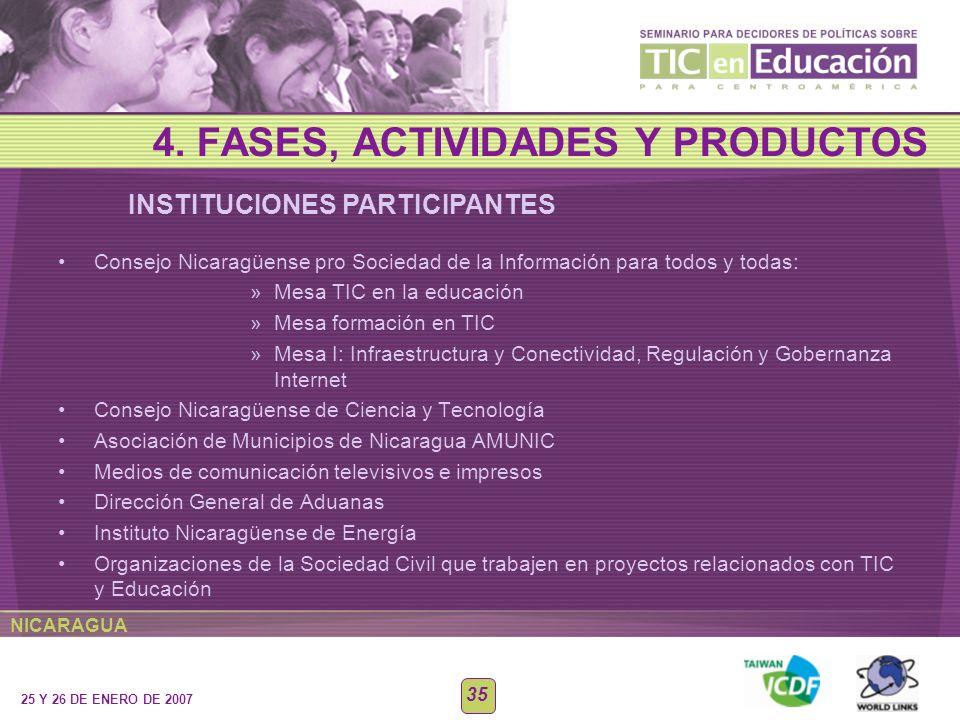 NICARAGUA 25 Y 26 DE ENERO DE 2007 35 Consejo Nicaragüense pro Sociedad de la Información para todos y todas: »Mesa TIC en la educación »Mesa formació