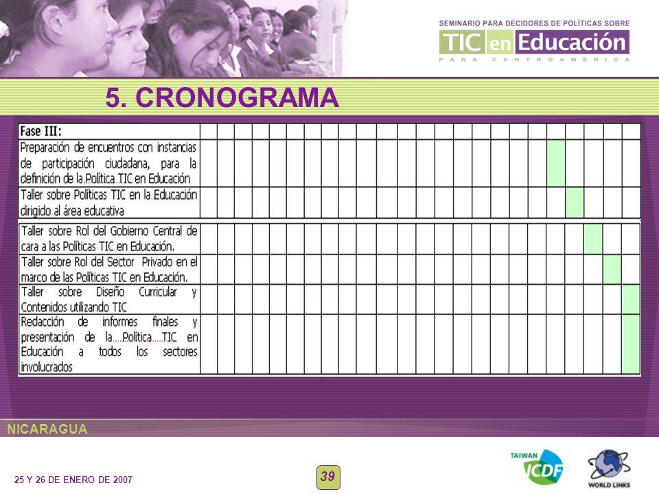 NICARAGUA 25 Y 26 DE ENERO DE 2007 39 5. CRONOGRAMA