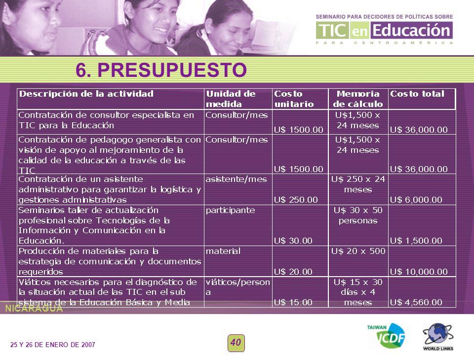 NICARAGUA 25 Y 26 DE ENERO DE 2007 40 6. PRESUPUESTO
