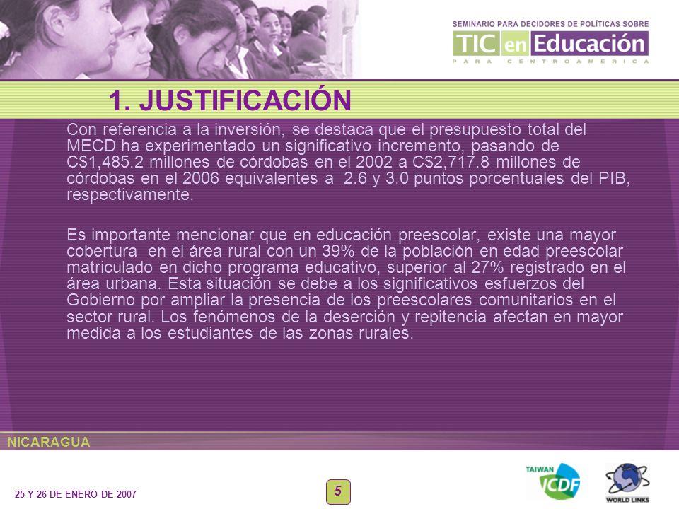 NICARAGUA 25 Y 26 DE ENERO DE 2007 5 Con referencia a la inversión, se destaca que el presupuesto total del MECD ha experimentado un significativo inc