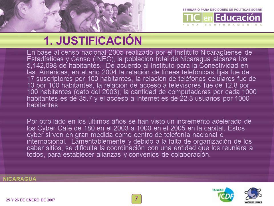 NICARAGUA 25 Y 26 DE ENERO DE 2007 7 En base al censo nacional 2005 realizado por el Instituto Nicaragüense de Estadísticas y Censo (INEC), la poblaci