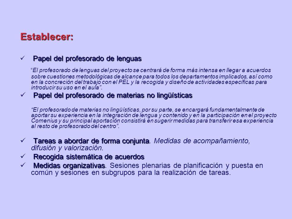 Establecer: Papel del profesorado de lenguas El profesorado de lenguas del proyecto se centrará de forma más intensa en llegar a acuerdos sobre cuesti