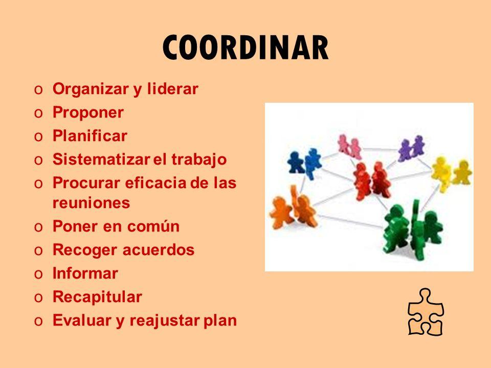 COORDINAR oOrganizar y liderar oProponer oPlanificar oSistematizar el trabajo oProcurar eficacia de las reuniones oPoner en común oRecoger acuerdos oI