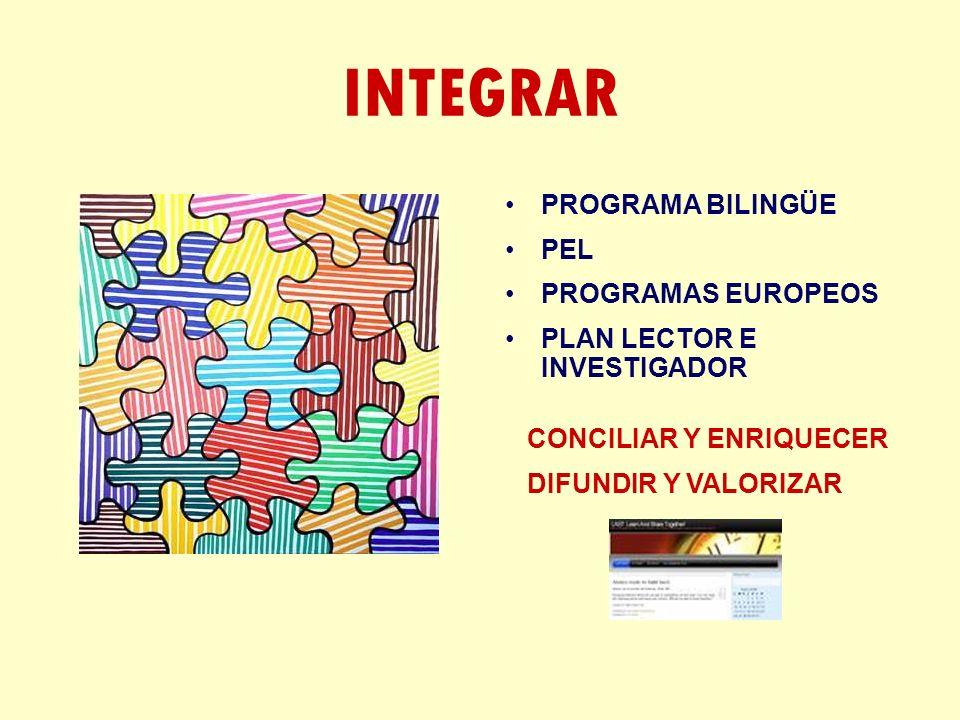 INTEGRAR PROGRAMA BILINGÜE PEL PROGRAMAS EUROPEOS PLAN LECTOR E INVESTIGADOR CONCILIAR Y ENRIQUECER DIFUNDIR Y VALORIZAR