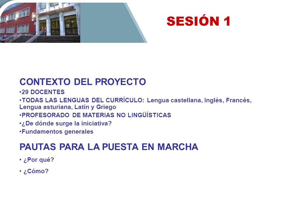 SESIÓN 1 CONTEXTO DEL PROYECTO 29 DOCENTES TODAS LAS LENGUAS DEL CURRÍCULO: Lengua castellana, Inglés, Francés, Lengua asturiana, Latín y Griego PROFE