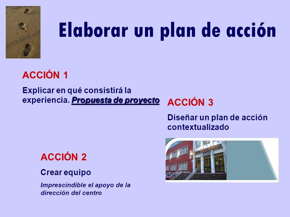 Elaborar un plan de acción ACCIÓN 1 Propuesta de proyecto Explicar en qué consistirá la experiencia. Propuesta de proyecto ACCIÓN 2 Crear equipo Impre