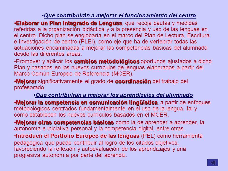 Que contribuirán a mejorar el funcionamiento del centro Elaborar un Plan Integrado de LenguasElaborar un Plan Integrado de Lenguas, que recoja pautas