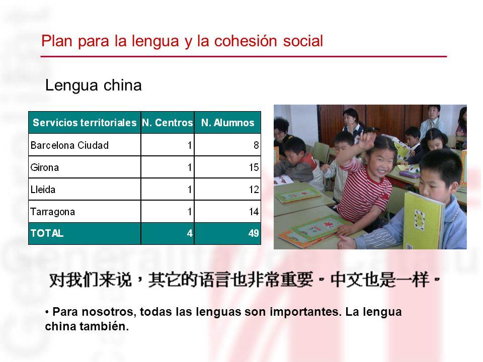 Lengua china Para nosotros, todas las lenguas son importantes. La lengua china también. Plan para la lengua y la cohesión social