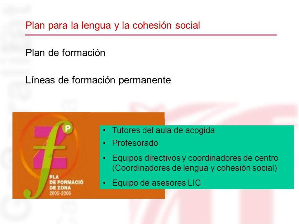 Plan de formación Líneas de formación permanente Tutores del aula de acogida Profesorado Equipos directivos y coordinadores de centro (Coordinadores d