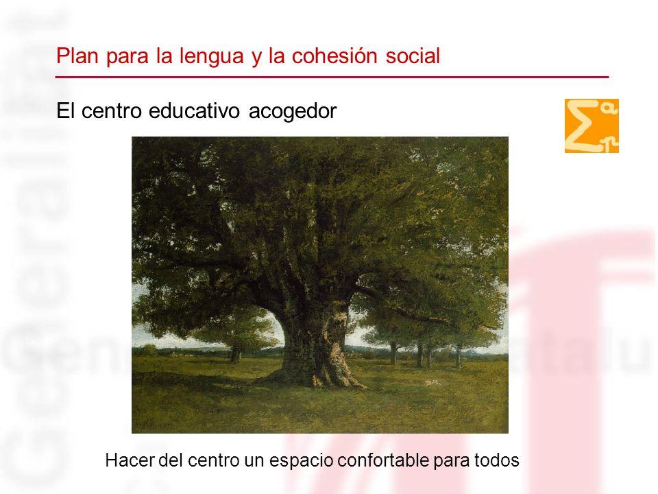 El centro educativo acogedor Hacer del centro un espacio confortable para todos Plan para la lengua y la cohesión social