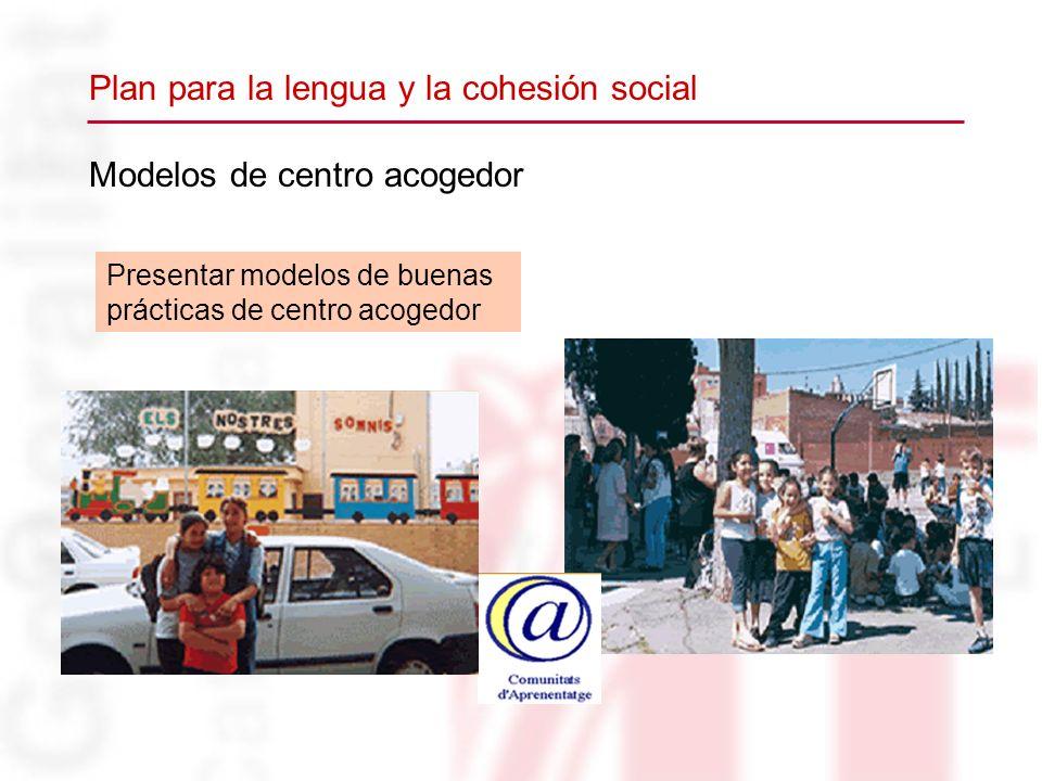 Modelos de centro acogedor Presentar modelos de buenas prácticas de centro acogedor Plan para la lengua y la cohesión social