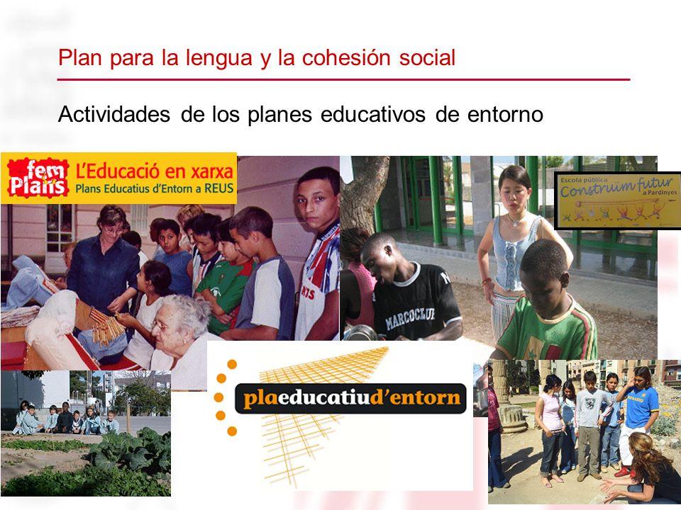 Actividades de los planes educativos de entorno Plan para la lengua y la cohesión social
