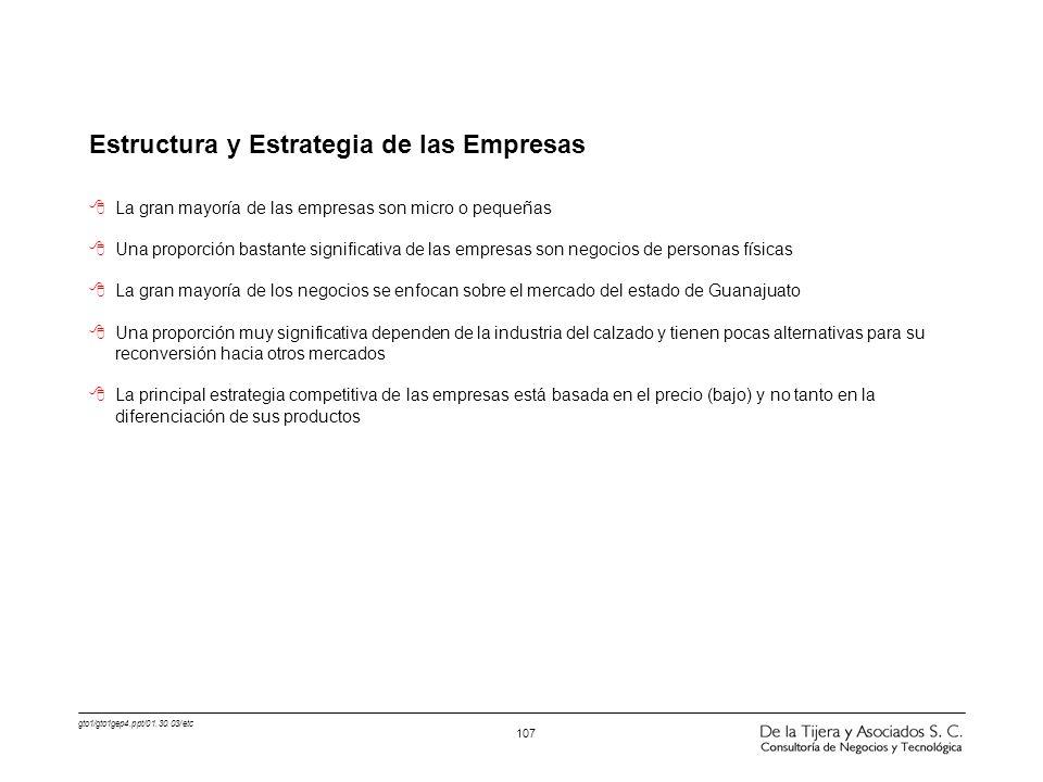 gto1/gto1gep4.ppt/01.30.03/etc 107 Estructura y Estrategia de las Empresas 8La gran mayoría de las empresas son micro o pequeñas 8Una proporción basta