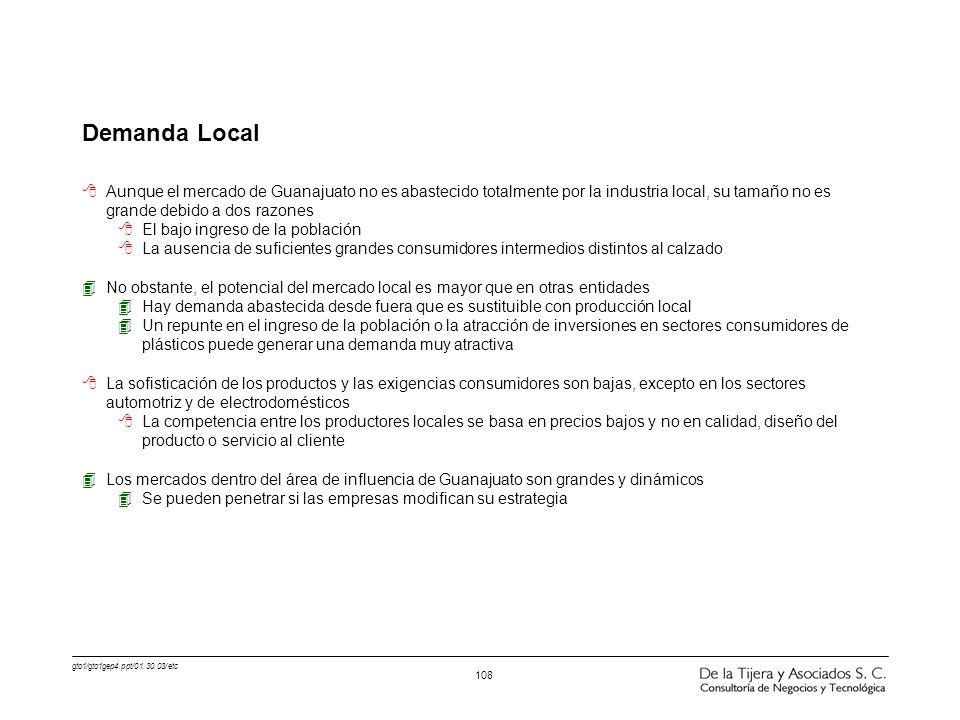 gto1/gto1gep4.ppt/01.30.03/etc 108 Demanda Local 8Aunque el mercado de Guanajuato no es abastecido totalmente por la industria local, su tamaño no es
