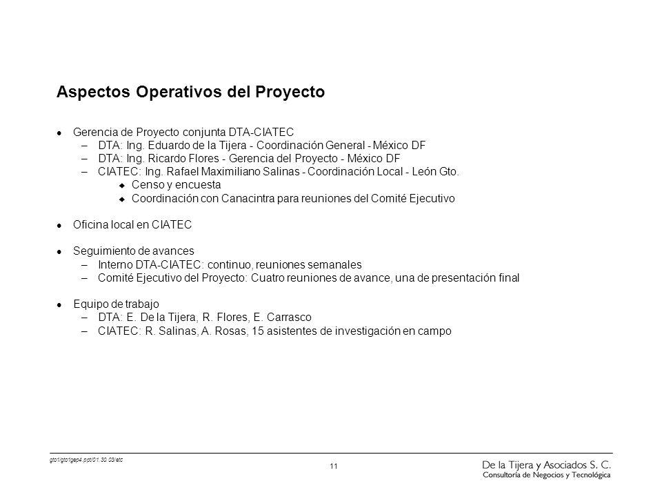 gto1/gto1gep4.ppt/01.30.03/etc 11 Aspectos Operativos del Proyecto l Gerencia de Proyecto conjunta DTA-CIATEC –DTA: Ing. Eduardo de la Tijera - Coordi