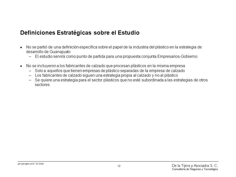gto1/gto1gep4.ppt/01.30.03/etc 12 Definiciones Estratégicas sobre el Estudio l No se partió de una definición específica sobre el papel de la industri