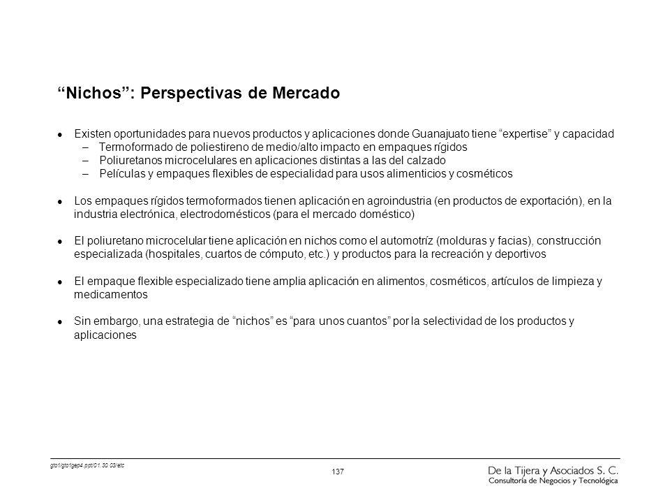 gto1/gto1gep4.ppt/01.30.03/etc 137 Nichos: Perspectivas de Mercado l Existen oportunidades para nuevos productos y aplicaciones donde Guanajuato tiene