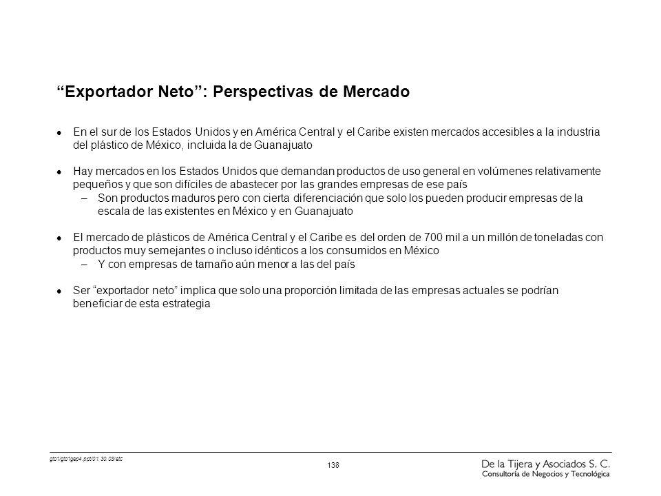 gto1/gto1gep4.ppt/01.30.03/etc 138 Exportador Neto: Perspectivas de Mercado l En el sur de los Estados Unidos y en América Central y el Caribe existen