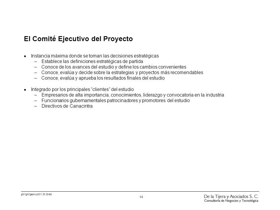 gto1/gto1gep4.ppt/01.30.03/etc 14 El Comité Ejecutivo del Proyecto l Instancia máxima donde se toman las decisiones estratégicas –Establece las defini