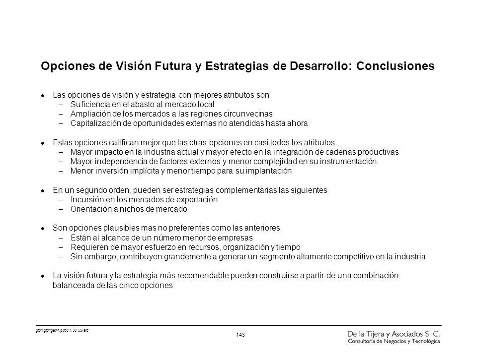gto1/gto1gep4.ppt/01.30.03/etc 143 Opciones de Visión Futura y Estrategias de Desarrollo: Conclusiones l Las opciones de visión y estrategia con mejor